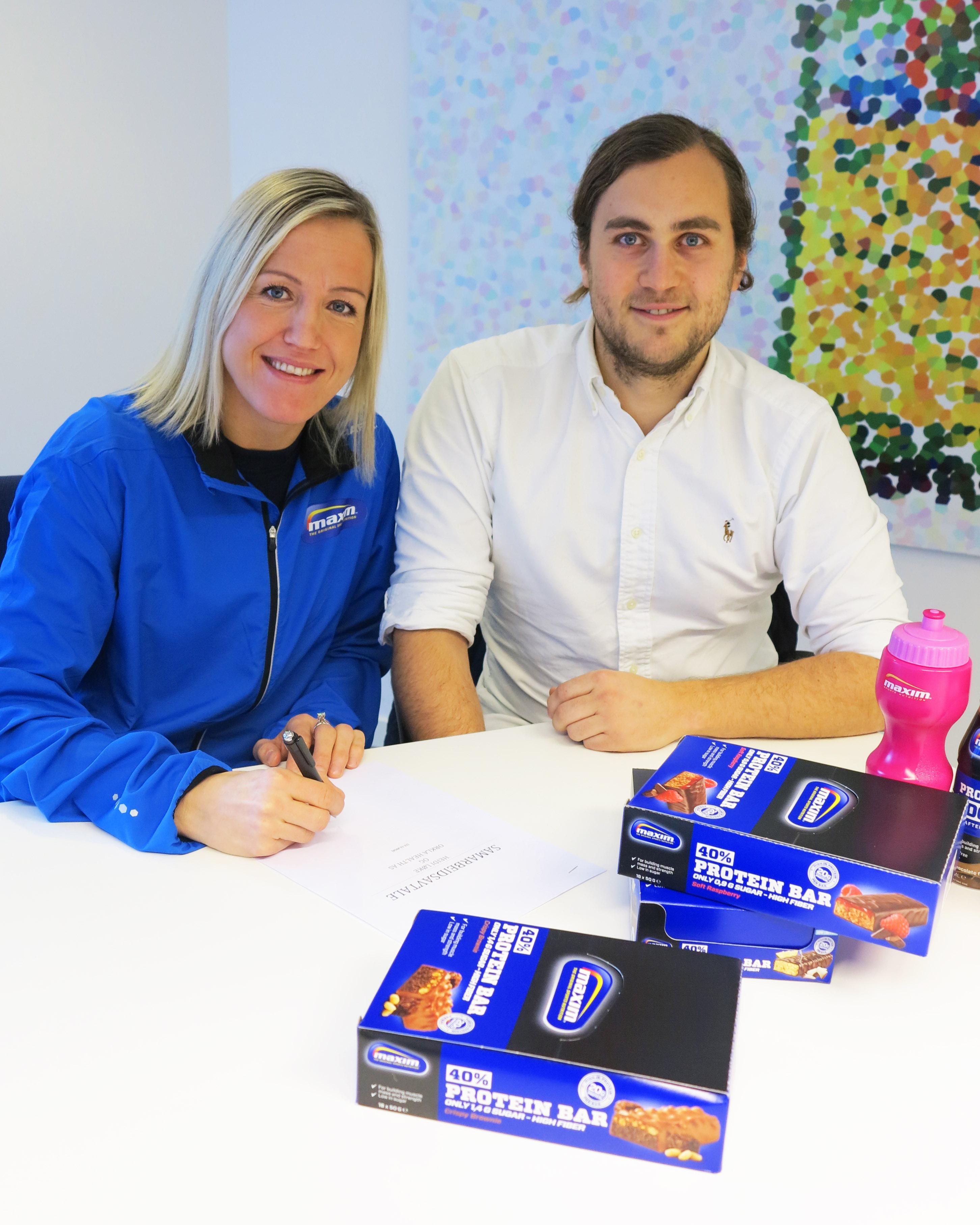 AMBASSADØR: Heidi Løke og Jørgen Krogh Ankerstad i Maxim fortsetter samarbeidet utenfor håndballbanen.